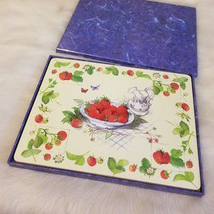 Pimpernel Set 4 Placemats Strawberry Themed 70s